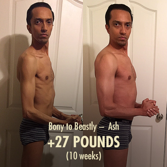 Ash gained 27 pounds in 10 weeks in his muscle-building transformation