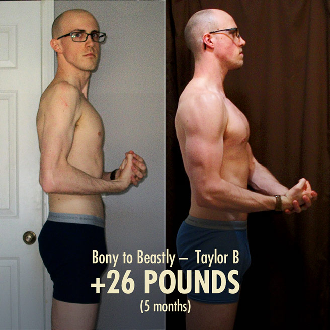 Taylors 26 Pound Ectomorph Weight-Gain Transformation Before & After Photo