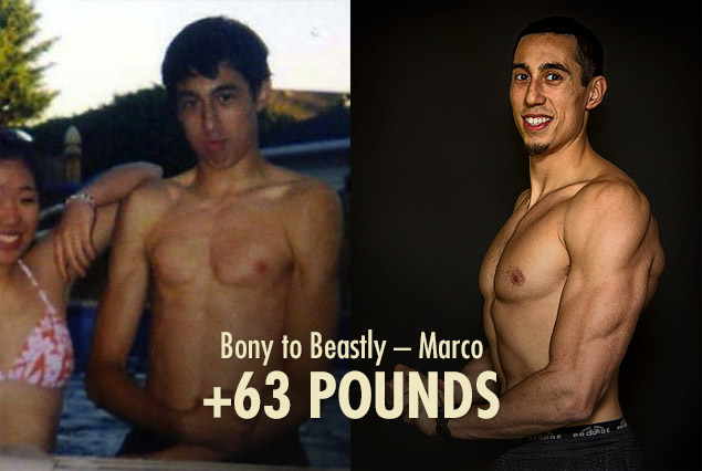 Marco Walker Ng skinny to muscular tall ectomorph bulking progress photos
