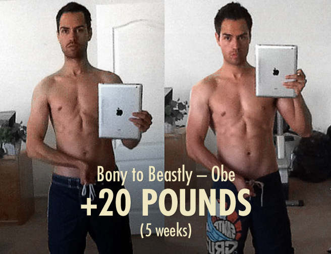 Obe's Bony to Beastly Skinny Muscle-building Transformation (ectomorph bulking progress photos)