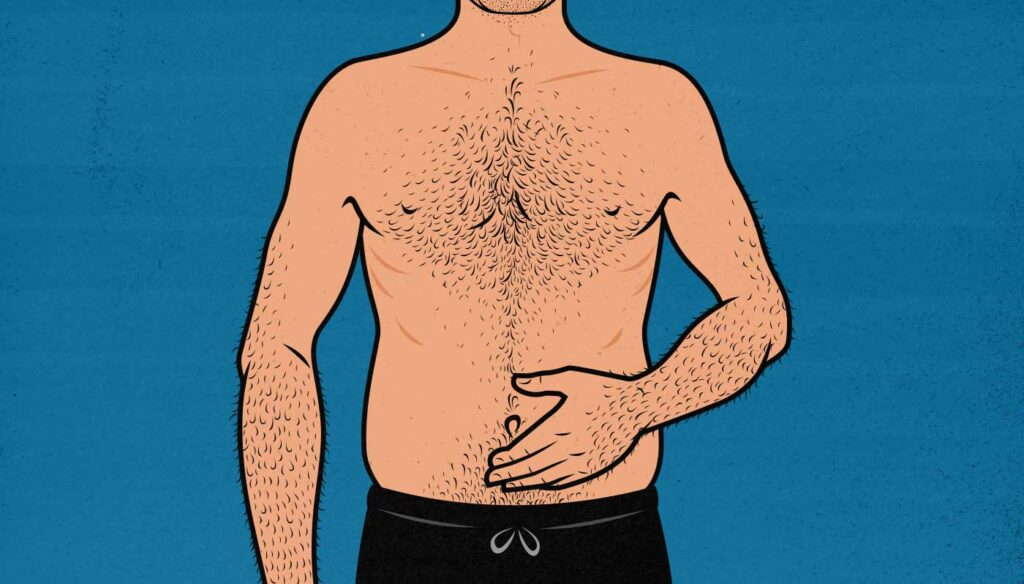 Illustration of a beginner bodybuilder suffering from bloating and indigestion.