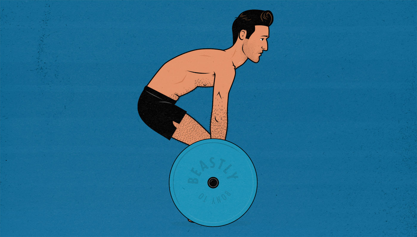 Illustration showing a beginner deadlifting to failure with a rounded back.