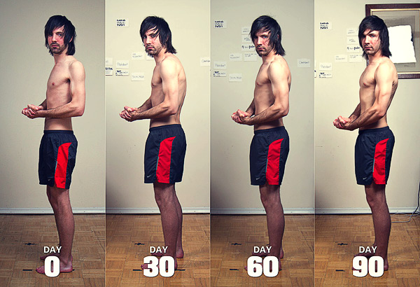 Before and after photo of Jared transforming his posture.