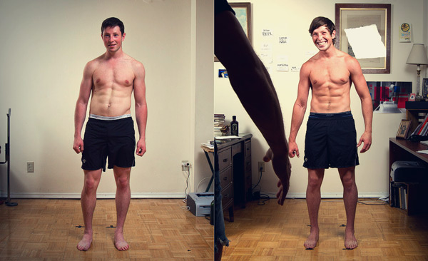 Before and after photo of willing improving his posture.
