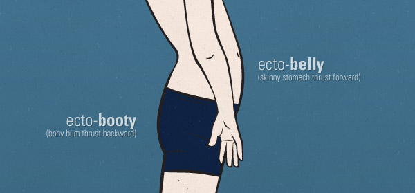 Illustration showing a belly sticking out because of poor posture.