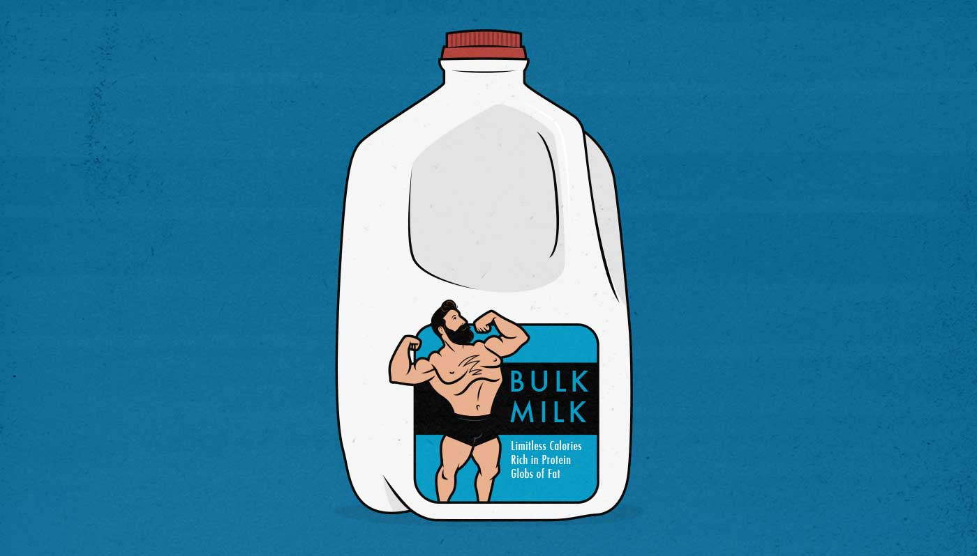 Illustration of a gallon of whole milk with a muscular bodybuilder on the front.