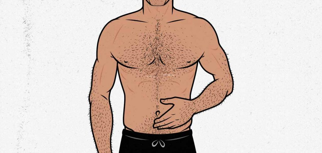 Illustration of a lean man holding his stomach