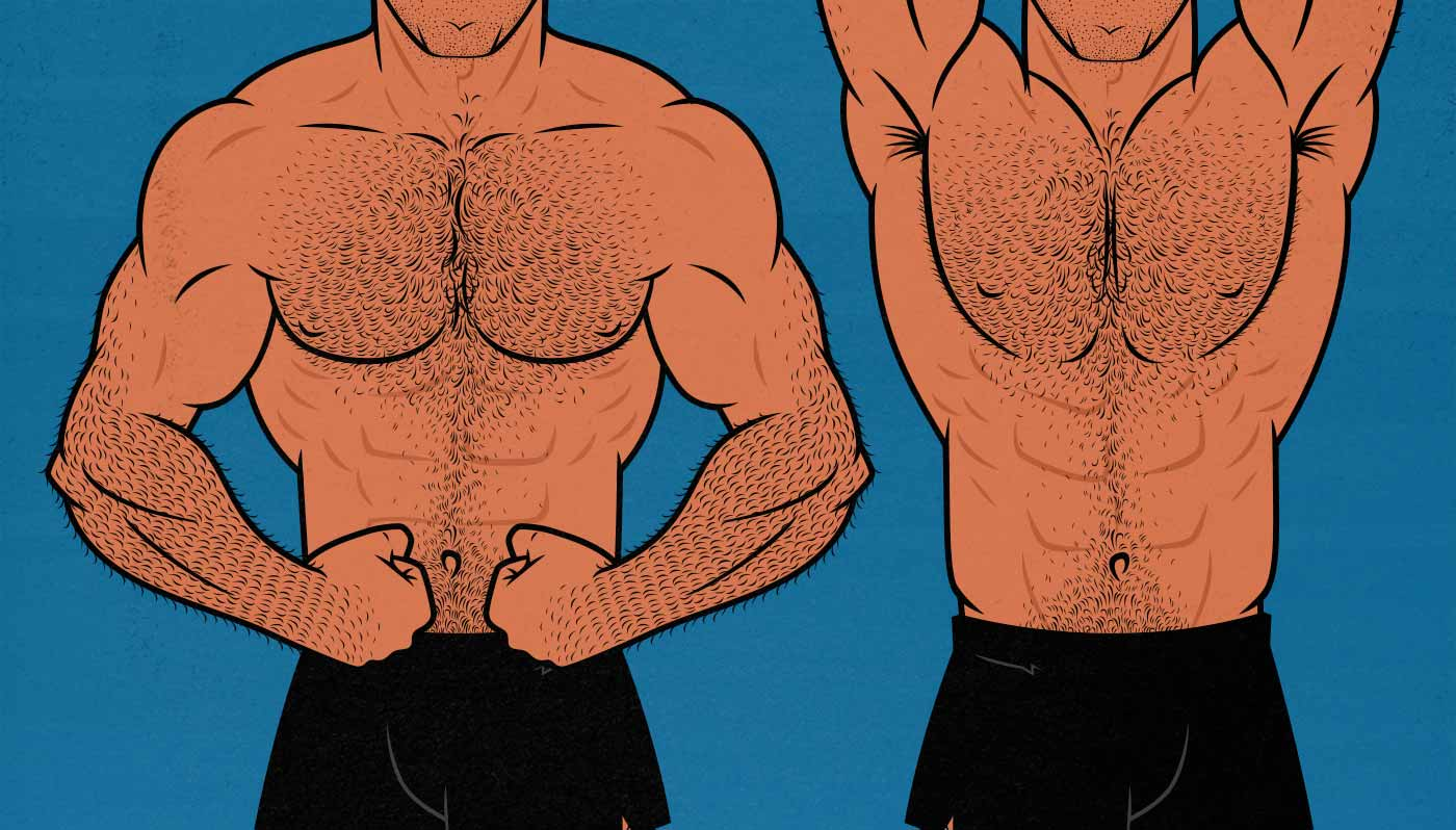 Illustration showing the ideal body type for men.