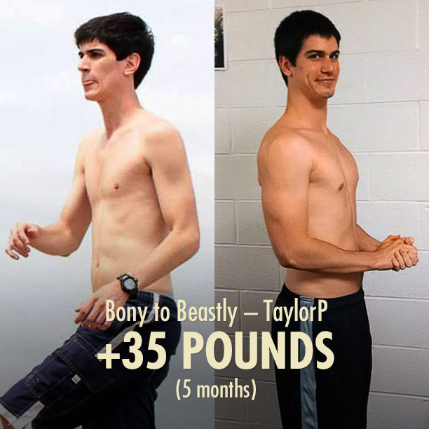 TaylorP's Bony to Beastly Skinny Muscle-building Ectomorph Transformation