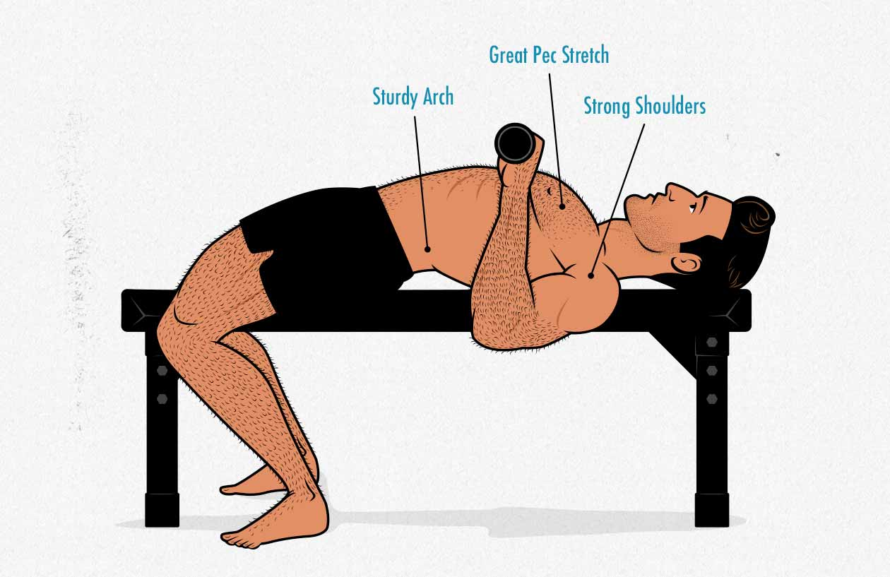 Illustration of an ectomorph doing the bench press with proper technique.