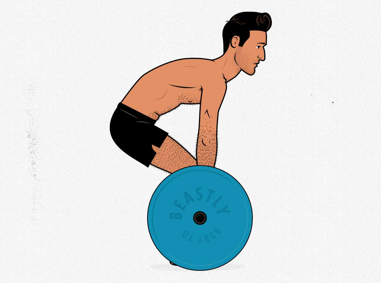Illustration of an ectomorph rounding his back because his back isn't strong enough yet.