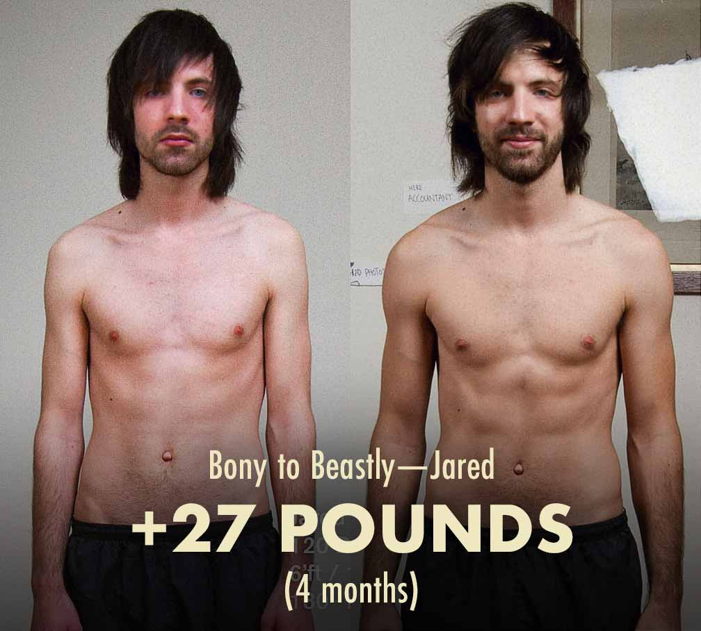 Jared's before and after progress photos showing him going from being a skinny ectomorph to being muscular.