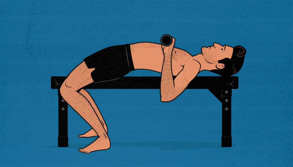 Illustration showing a skinny ectomorph having trouble with the barbell bench press.