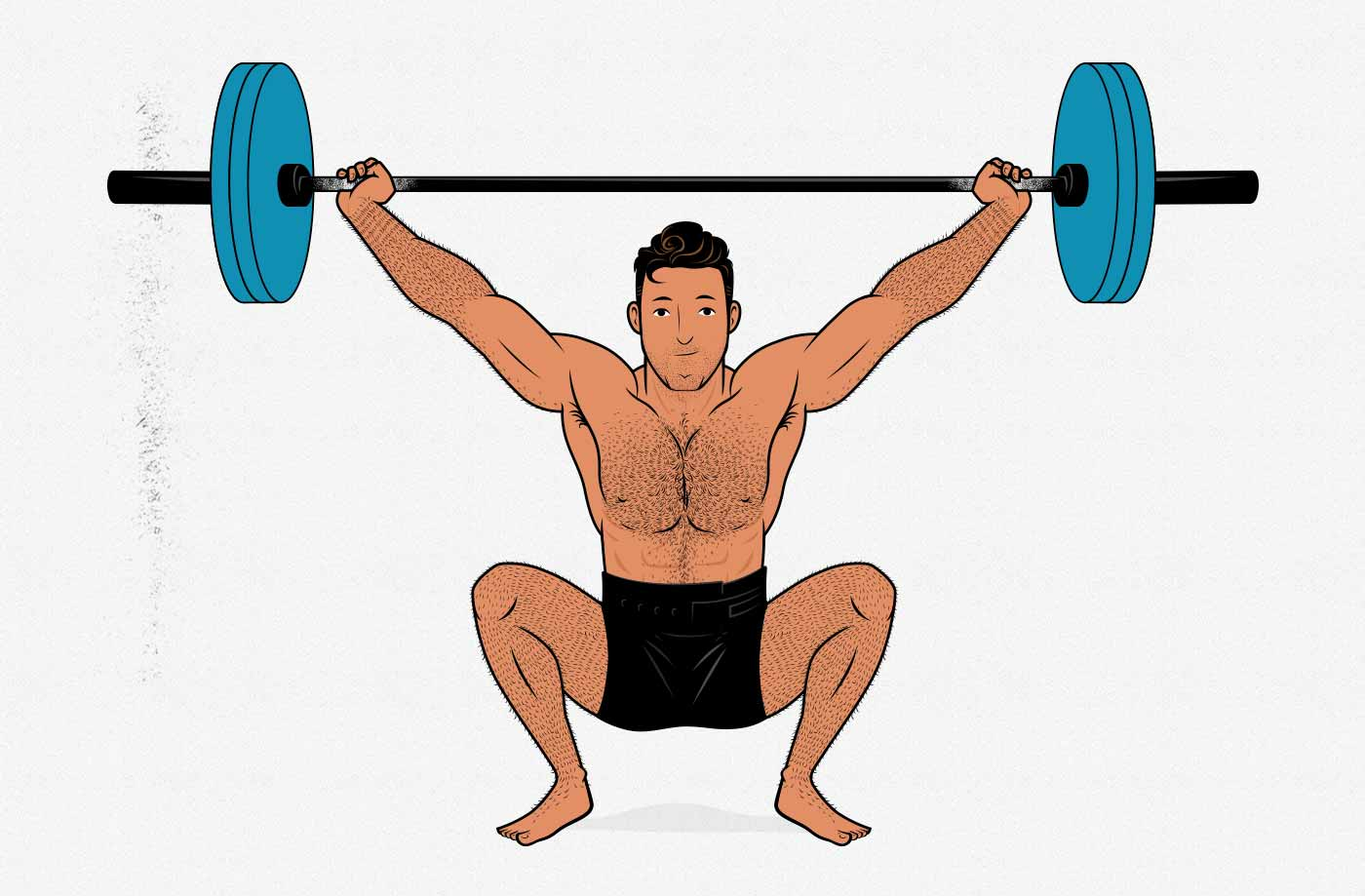 Illustration showing a man doing a snatch.