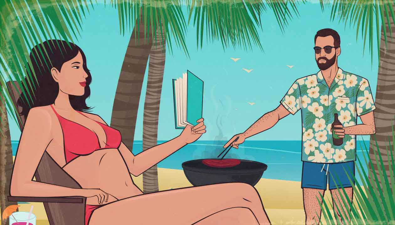 Illustration of a man on vacation with a woman in a bikini