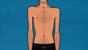 Illustration of a skinny hardgainer with an ectomorph body type.