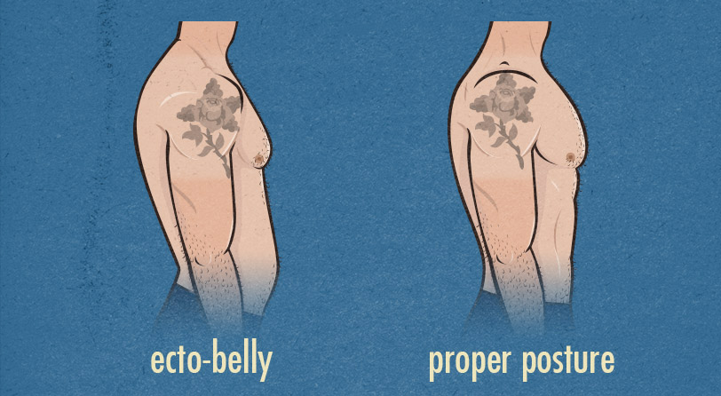 ecto-belly vs good posture with strong abs