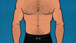 Illustration of a naturally skinny guy building bigger abs.