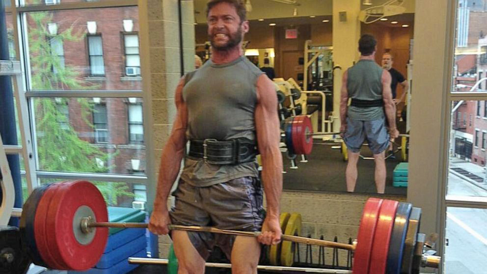 Hugh Jackman Deadlifting to Build Muscle