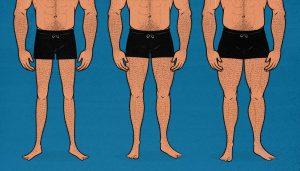 Illustration of men with varying leg sizes.
