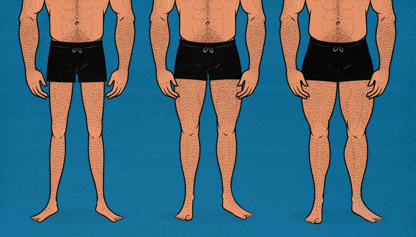 Illustration of men with varying leg sizes.
