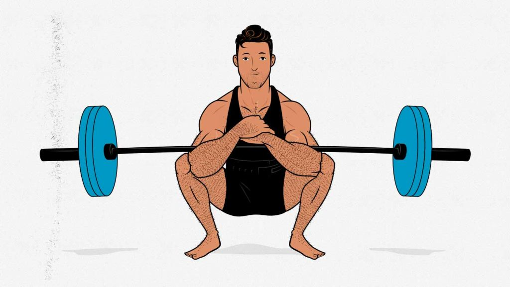 Illustration of a man doing a Zercher squat