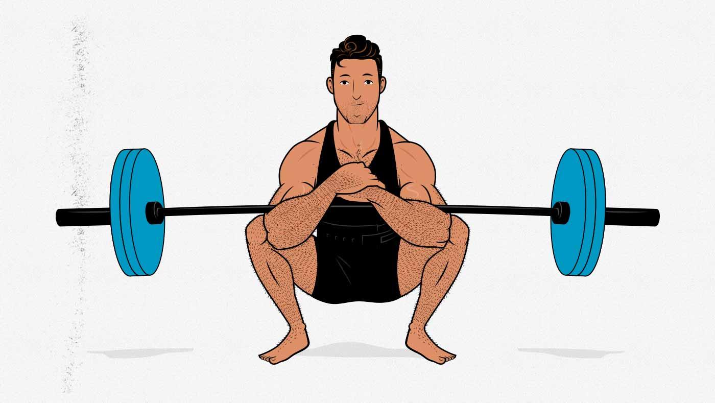 Illustration of a man doing a Zercher squat