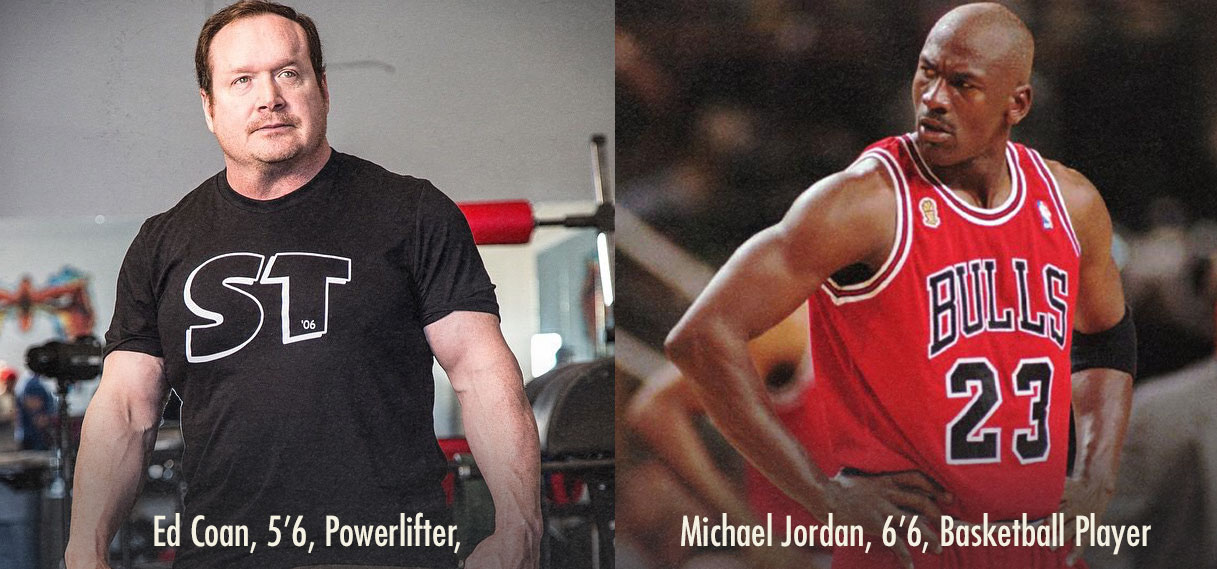 Comparing the Proportions of Tall Ectomorph Michael Jordan with Short Endomorph Ed Coan
