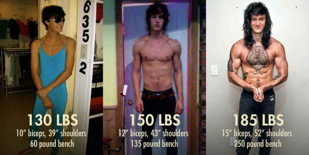 Before and after photo of a skinny guy's bulking transformation