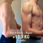Magnus, a lifelong hardgainer, busting out 13.3 kilos (29 pounds) in under a year.