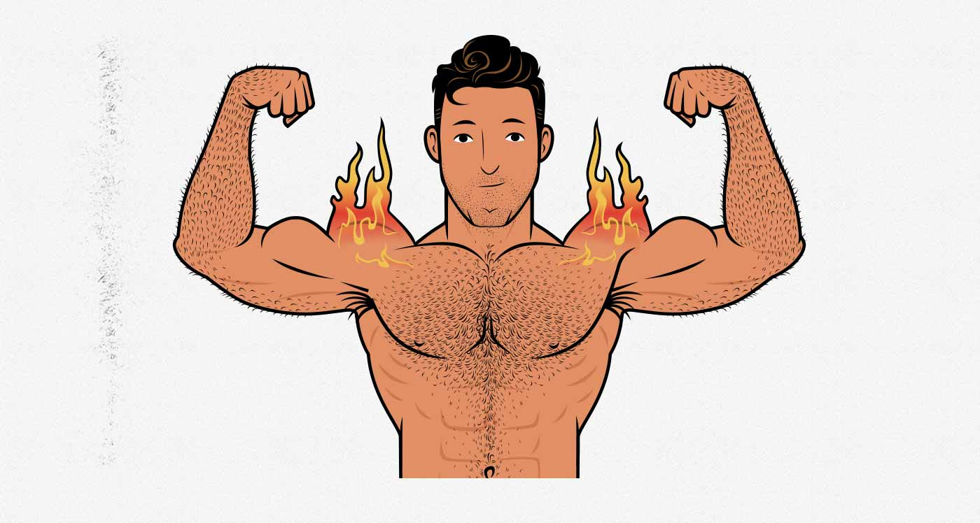 Illustration of a bodybuilder with burning shoulders.