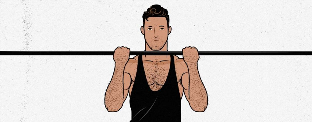 Illustration of a guy doing a chin-up