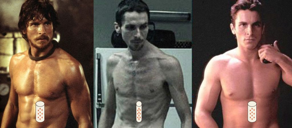 Christian Bale's body transformations.