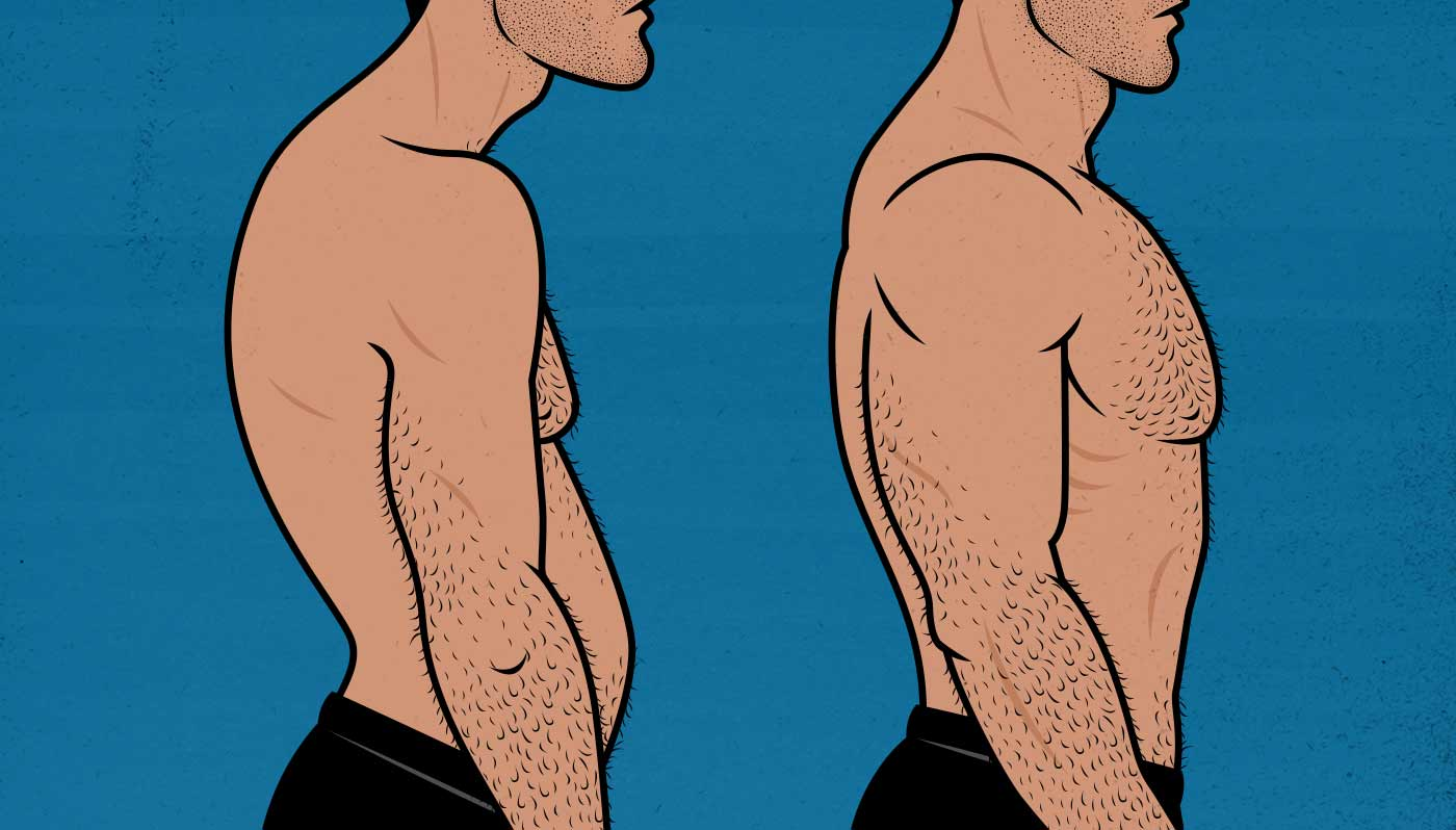 Illustration of a man going from having bad posture to having good posture