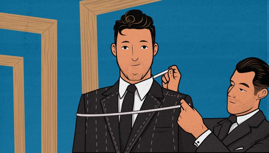 Illustration of a man getting his shoulders measured.
