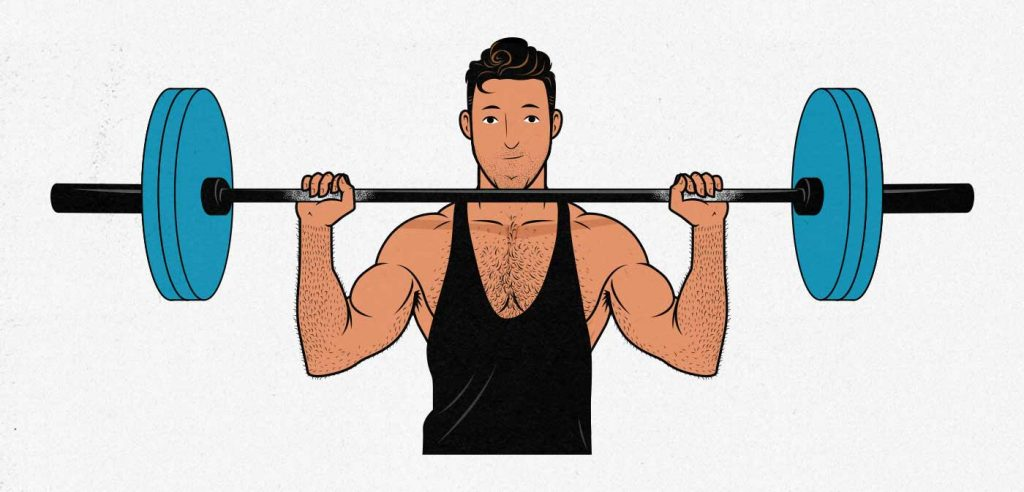 Illustration of a man doing the overhead press to build broader shoulders.