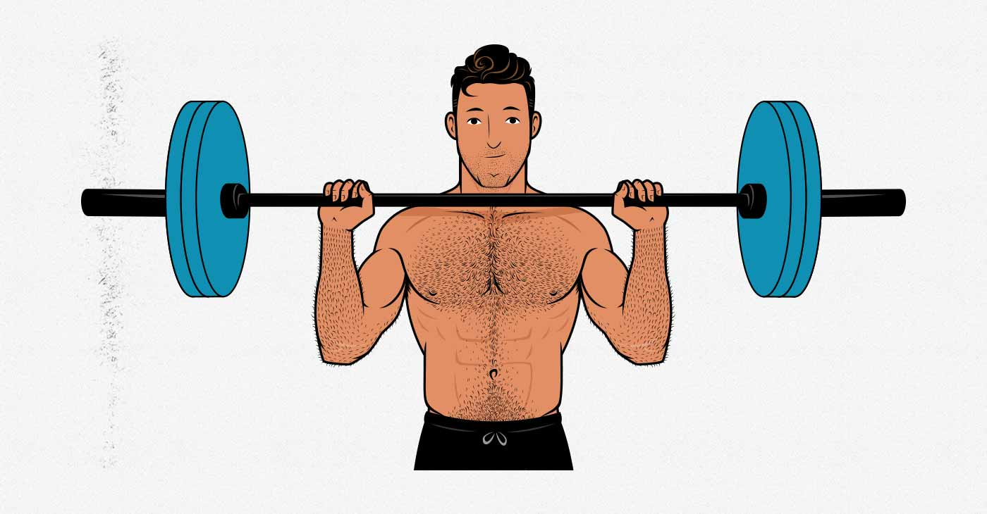 Illustration of a man doing the barbell overhead press.