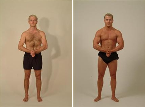 Before and after photo showing Tim Ferriss regaining lost muscle mass.