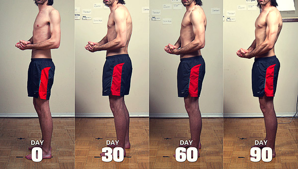 Before and after photo of a skinny man becoming muscular.