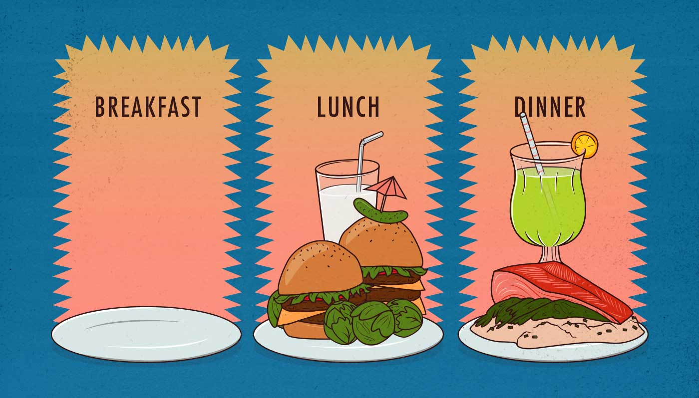 Illustration showing a 16:8 intermittent fasting meal schedule (with no breakfast).