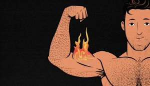 Illustration of a man flexing flaming biceps.