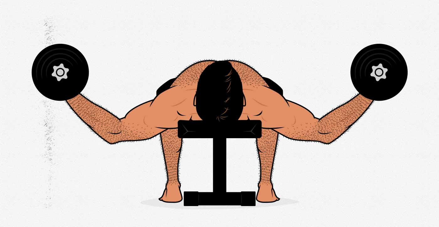 Illustration of a man doing a dumbbell fly.