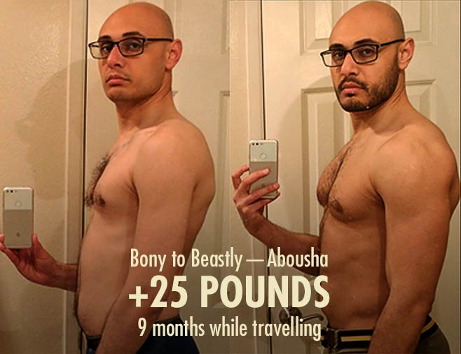 Abousha skinny hardgainer before after muscle-building ectomorph bulking transformation