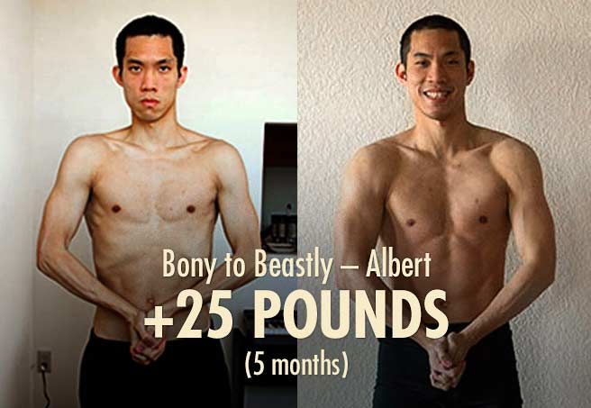 Albert's skinny to muscular before and after photos (ectomorph bulking transformation)