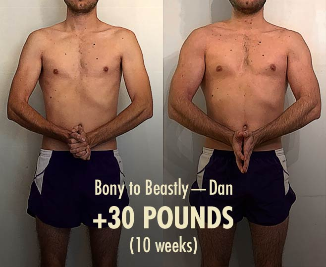 Dan skinny hardgainer before/after muscle-building ectomorph bulking transformation