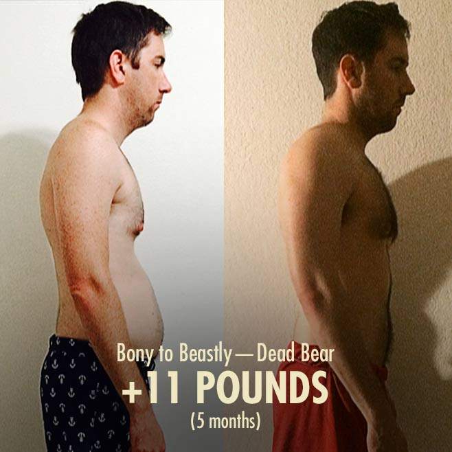 Deadbear skinny-fat transformation before after photos