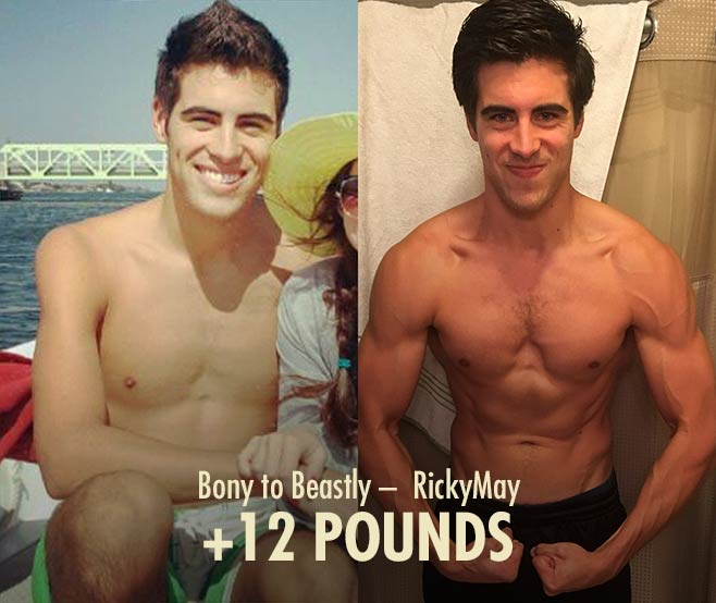 Ricky Ectomorph hardgainer muscle-building bulking transformation before after photos