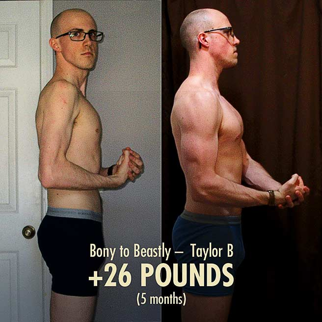 Taylor Ectomorph Muscle-building bulking transformation before after photo
