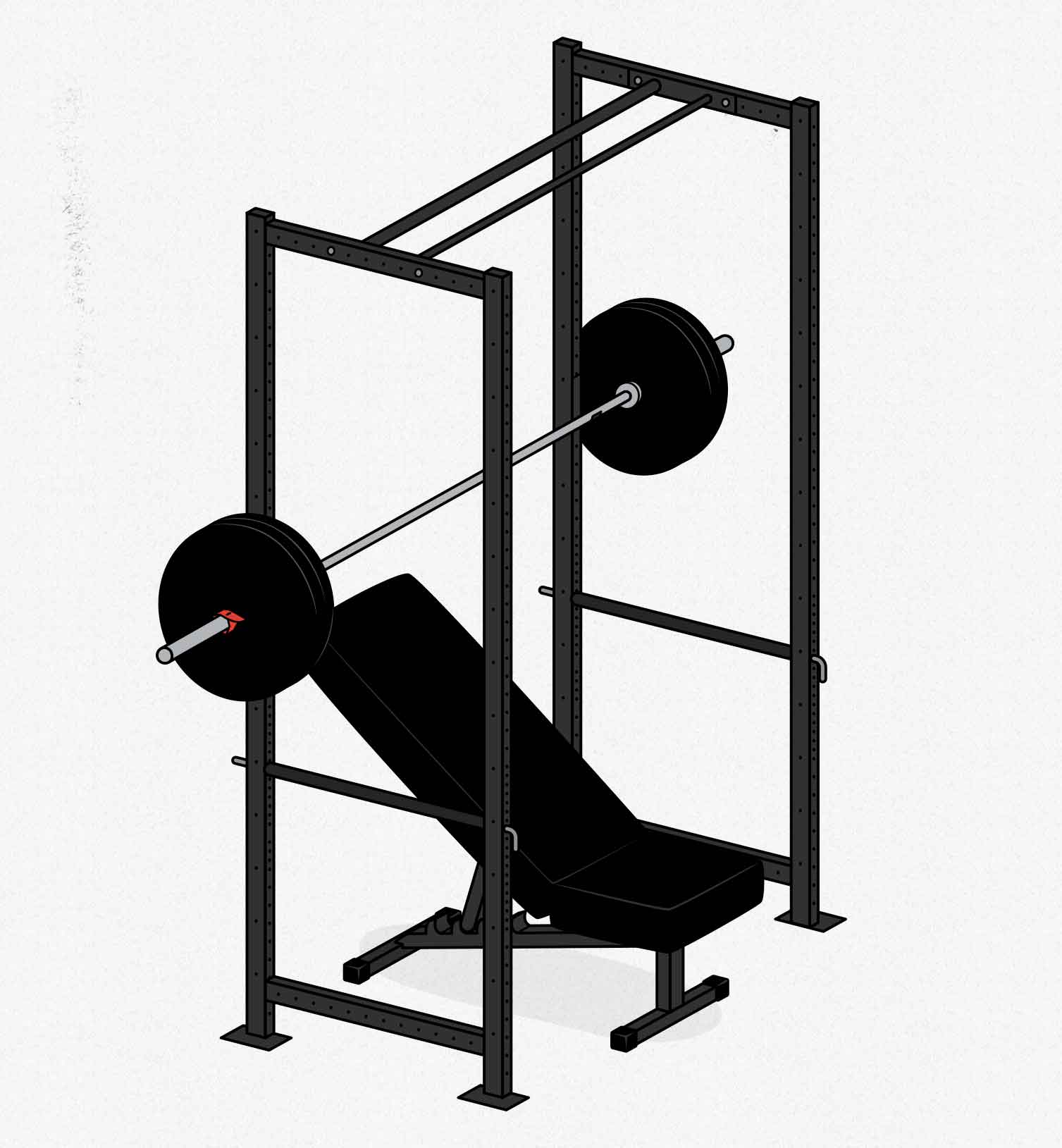 Diagram of a simple barbell home gym that's perfect for beginners.