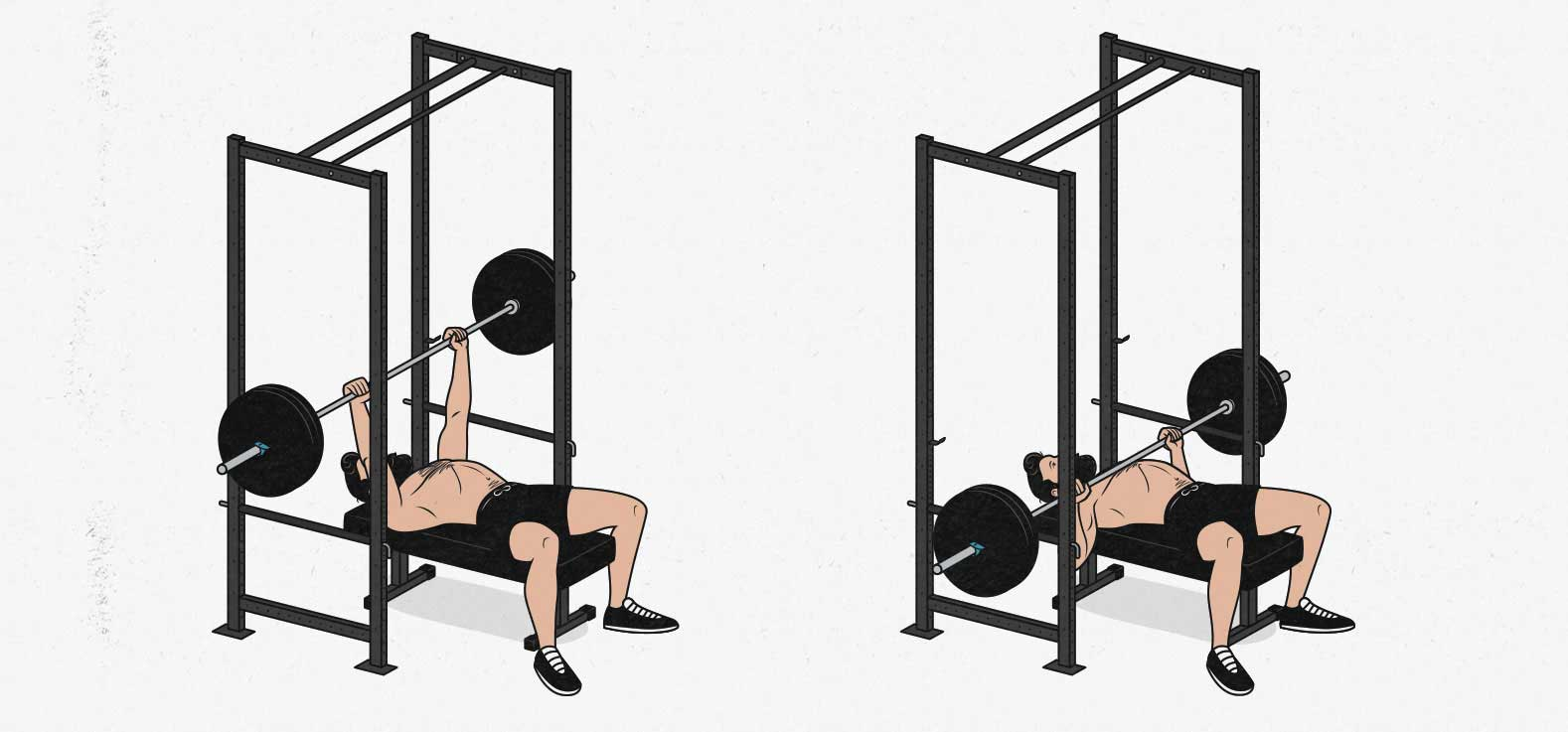 How to barbell bench press safely in a home gym without a spotter in a power cage using safety pins